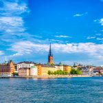 Beautiful panoramic view of Stockholm Old town Gamla Stan. Summer sunny day in Stockholm, Sweden