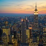 A high angle shot of city buildings in new york manhattan